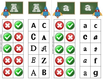 Alphabet Clip Cards Upper and Lower Case Recognition - Space