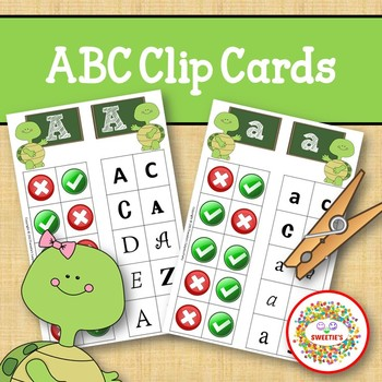 Alphabet Clip Cards Upper and Lower Case Recognition - Turtle Theme