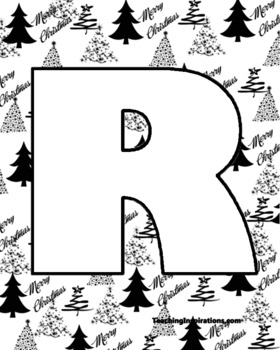 Alphabet Clipart Bulletin Board Letter Set Christmas Trees Background