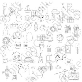 Alphabet Clip art Bundle A-M beginning sounds