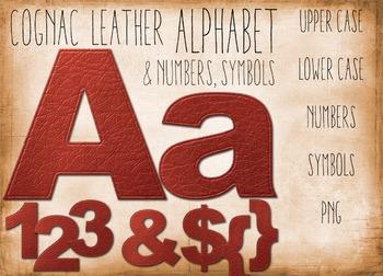 SALE- Alphabet Clip art of Leather Letters