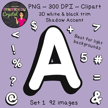 Alphabet Clipart - White 3D