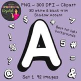 Bulletin Board Letters Alphabet Clipart - White 3D