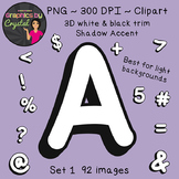 Bulletin Board Letters Alphabet Clipart - White 3D