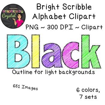 Alphabet Clipart - Bright Scribble HUGE Bundle