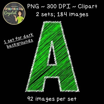 Alphabet Scribble Clipart - Bright Green