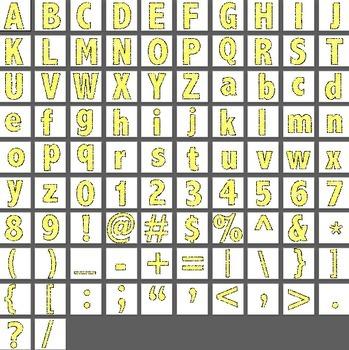 Alphabet Scribble Clipart - Bright Yellow