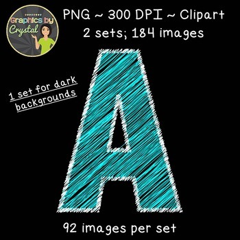 Alphabet Scribble Clipart - Bright Blue