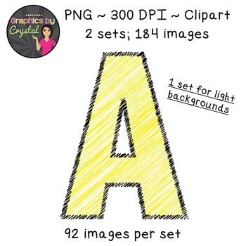 Alphabet Scribble Clipart - Yellow