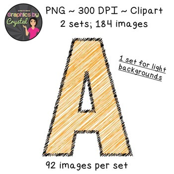 Alphabet Scribble Clipart - Orange