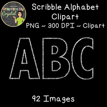 Alphabet Clipart - Black with White Scribble Outline