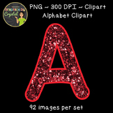 Alphabet Clipart - Red Glitter