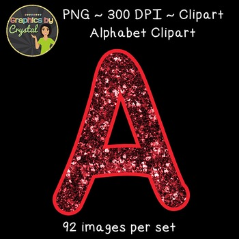 Alphabet Clipart - Red Glitter