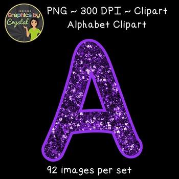 Alphabet Clipart - Purple Glitter