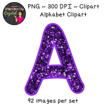 Alphabet Clipart - Purple Glitter