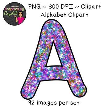Alphabet Clipart - Multi Color Glitter