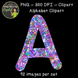 Alphabet Clipart - Multi Color Glitter