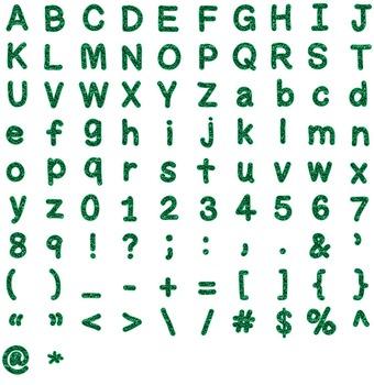Alphabet Clipart - Green Glitter