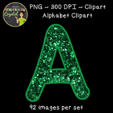 Alphabet Clipart - Green Glitter