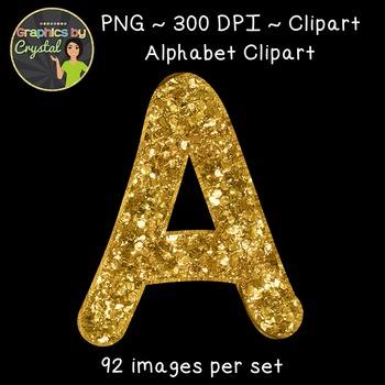 Alphabet Clipart - Gold Glitter