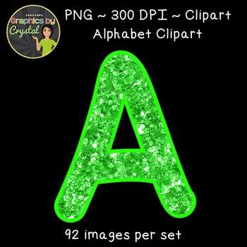 Alphabet Clipart - Bright Green Glitter