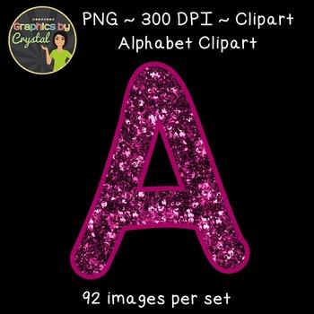 Alphabet Clipart - Burgundy Glitter