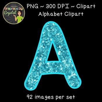 Alphabet Clipart - Frozen Blue Glitter