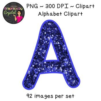 Alphabet Clipart - Blue Glitter