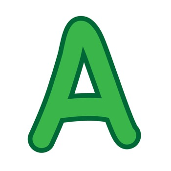 Alphabet Clipart - Green with Green Trim