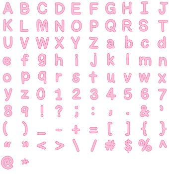 Alphabet Clipart - Pink with Pink Trim