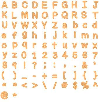Alphabet Clipart - Orange with Orange Trim
