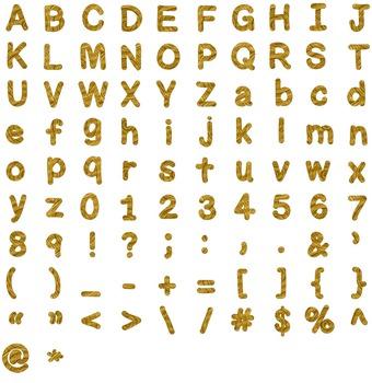 Alphabet Glitter Clipart - Gold Wood