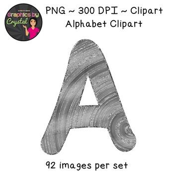 Alphabet Glitter Clipart - Silver Wood
