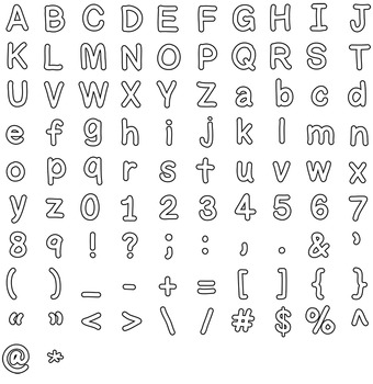 Bulletin Board Letters Alphabet Line Art Clipart