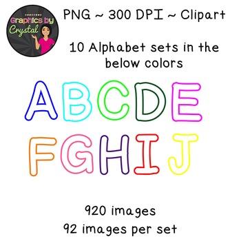 Simple Alphabet Clipart - White with Multi Color Trim