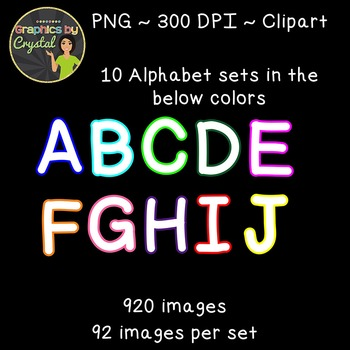 Bulletin Board Letters  Simple Alphabet Clipart - White with Multi Color Trim