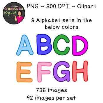 Simple Alphabet Clipart - Multi Color