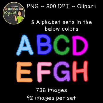 Bulletin Board Letters  Simple Alphabet Clipart - Multi Color