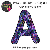 Alphabet Clipart - Multi Color Liquid Metal