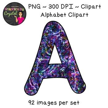 Alphabet Clipart - Multi Color Liquid Metal