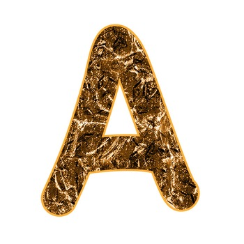 Alphabet Clipart - Orange Gold Liquid Metal