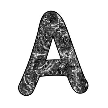 Alphabet Clipart - Black Liquid Metal