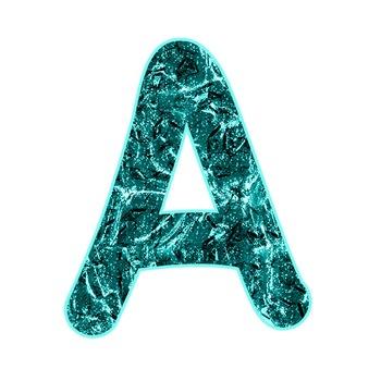 Alphabet Clipart - Aqua Liquid Metal