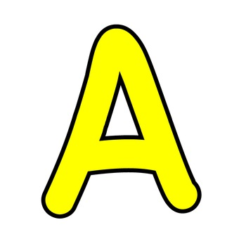 Simple Alphabet Clipart - Yellow with Black Outline