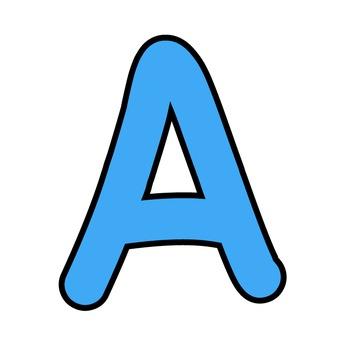 Simple Alphabet Clipart - Blue with Black Outline