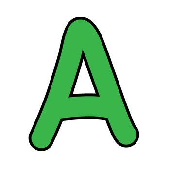 Simple Alphabet Clipart - Green with Black Outline