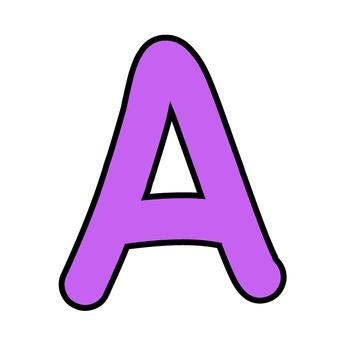 Simple Alphabet Clipart - Purple with Black Outline