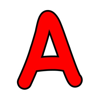 Bulletin Board Letters Simple Alphabet Clipart - Red with Black Outline