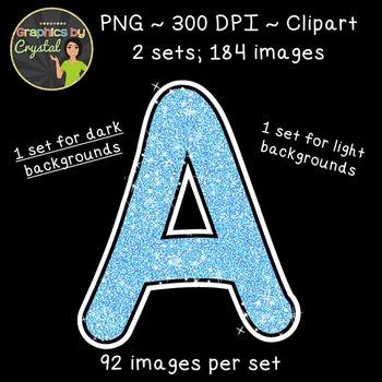 Alphabet Glitter Clipart - Baby Blue