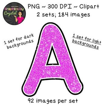 Alphabet Glitter Clipart - Magenta